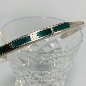 Vtg Silver thin 3.65mm Inlay Turquoise Bracelet